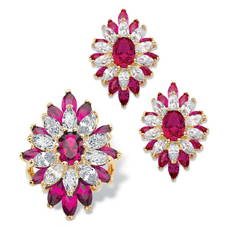 Oval and Marquise-Cut Created Red Ruby and Cubic Zirconia Floral Set 19.29 TCW 14k Gold Plated at PalmBeach Jewelry