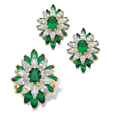 Oval and Marquise-Cut Created Emerald and Cubic Zirconia Floral Set 17.32 TCW 14k Gold Plated at PalmBeach Jewelry