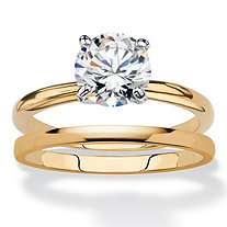 Round Cubic Zirconia 2-Piece Solitaire Wedding Ring Set 2 TCW 18k Yellow Gold-Plated