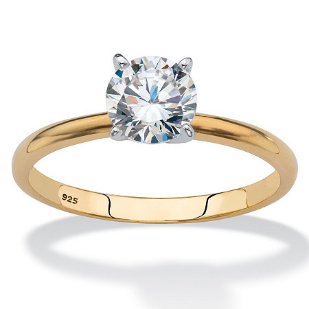 Round Cubic Zirconia Solitaire Engagement Ring 1.08 TCW in 18k Yellow Gold over Sterling Silver at PalmBeach Jewelry