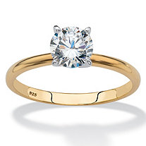 Round Cubic Zirconia Solitaire Engagement Ring 1.08 TCW in 18k Yellow Gold over Sterling Silver