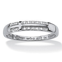 "Men's Pave Diamond Accent ""Lord's Prayer"" Cross Ring in Solid 10k White Gold"