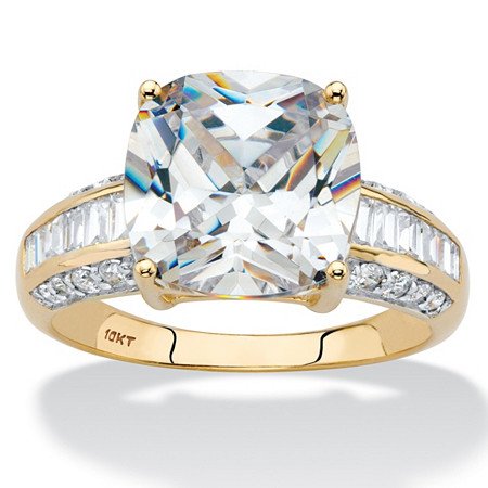 Cushion-Cut Cubic Zirconia Engagement Anniversary Ring 3.28 TCW in Solid 10k Yellow Gold at PalmBeach Jewelry