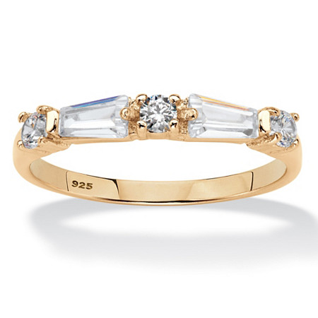 Round and Baguette Cubic Zirconia Wedding Band .98 TCW in 14k Yellow Gold over Sterling Silver at PalmBeach Jewelry