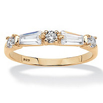 Round and Baguette Cubic Zirconia Wedding Band .98 TCW in 14k Yellow Gold over Sterling Silver