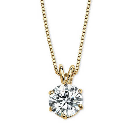 Round Cubic Zirconia Solitaire Pendant Necklace 3 TCW in 14k Yellow Gold over Sterling Silver at PalmBeach Jewelry