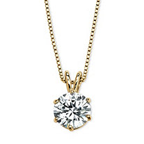 Round Cubic Zirconia Solitaire Pendant Necklace 3 TCW in 14k Yellow Gold over Sterling Silver
