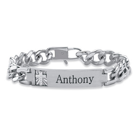 "Men's Diamond Accent Personalized Curb-Link Platinum-Plated Cross Bracelet 8"" at PalmBeach Jewelry"