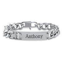 Men's Diamond Accent Personalized Curb-Link Platinum-Plated Cross Bracelet 8""