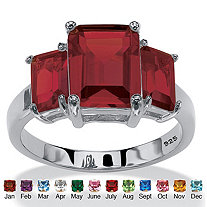 Emerald-Cut Simulated Birthstone 3-Stone Ring in Sterling Silver