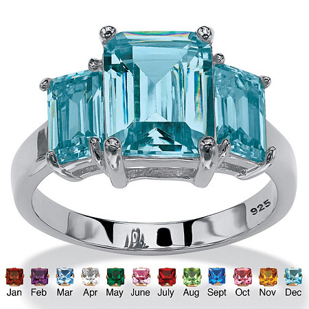Emerald-Cut Simulated Birthstone 3-Stone Ring in Sterling Silver at PalmBeach Jewelry