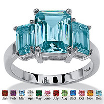 Emerald-Cut Simulated Simulated Birthstone 3-Stone Ring in Sterling Silver