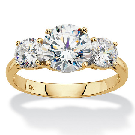 Round Cubic Zirconia 3-Stone Engagement Ring 3 TCW in Solid 10k Yellow Gold at PalmBeach Jewelry