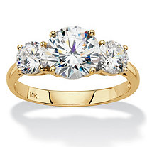 Round Cubic Zirconia 3-Stone Engagement Ring 3 TCW in Solid 10k Yellow Gold
