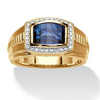 Men's Created Ceylon Blue and White Sapphire Ring 2.97 TCW in 18k Gold over Sterling Silver