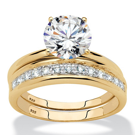 Round Cubic Zirconia 2-Piece Solitaire Wedding Ring Set 2.20 TCW in 18k Yellow Gold over Sterling Silver at PalmBeach Jewelry