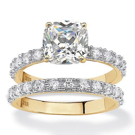 Cushion-Cut Cubic Zirconia Bridal Engagement Ring Set 2.45 TCW in 18k Gold over Sterling Silver at PalmBeach Jewelry