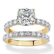 Cushion-Cut Cubic Zirconia Bridal Engagement Ring Set 2.45 TCW in 18k Gold over Sterling Silver
