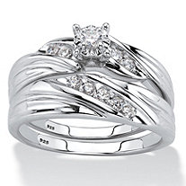Round Cubic Zirconia Diagonal 2-Piece Wedding Ring Set .24 TCW in Platinum over Sterling Silver