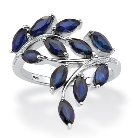 Genuine Blue Sapphire and Diamond Accent Bypass Leaf Ring 2.64 TCW in Platinum over Sterling Silver at PalmBeach Jewelry