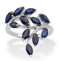 Genuine Blue Sapphire and Diamond Accent Bypass Leaf Ring 2.64 TCW in Platinum over Sterling Silver