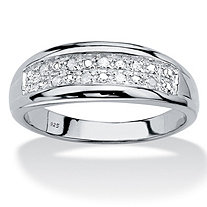 Men's Round Genuine Diamond Double Row Ring 1/8 TCW in Platinum over Sterling Silver