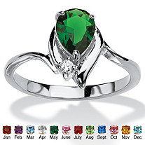 Pear-Cut Birthstone and Crystal Accent Ring in Silvertone