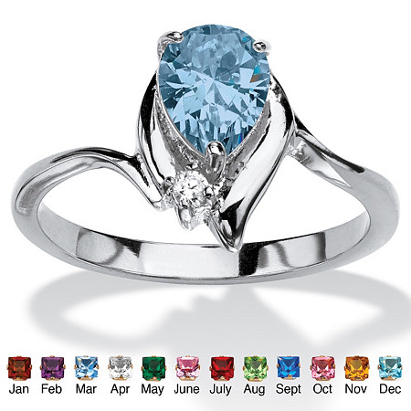 Pear-Cut Simulated Birthstone and Crystal Accent Ring in Silvertone at PalmBeach Jewelry