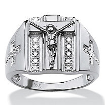 SETA JEWELRY Men's Round Diamond Crucifix and Cross Ring 1/10 TCW in Sterling Silver