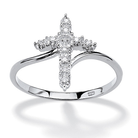 Diamond Accent Cross Ring in Platinum over Sterling Silver at PalmBeach Jewelry