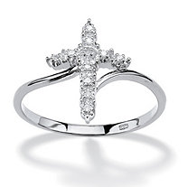 Diamond Accent Cross Ring in Platinum over Sterling Silver
