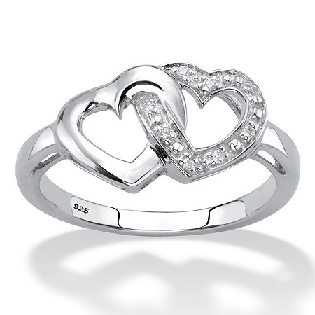 Diamond Accent Interlocking Hearts Promise Ring in Platinum over Sterling Silver at PalmBeach Jewelry