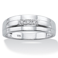 Men's Diamond Accent Band In Platinum Over Sterling Silver ONLY $89.99
