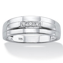 SETA JEWELRY Men's Diamond Accent Band in Platinum over Sterling Silver