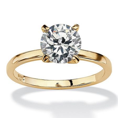 Cubic Zirconia Solitaire Engagement Ring 2.0 TCW in 14k Yellow Gold over Sterling Silver at PalmBeach Jewelry