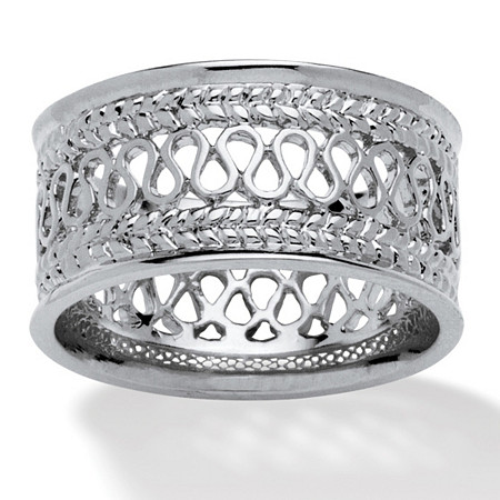 Open Weave Decorative Ring in Platinum over Sterling Silver at PalmBeach Jewelry