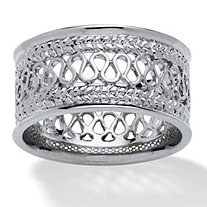 SETA JEWELRY Open Weave Decorative Ring in Platinum over Sterling Silver
