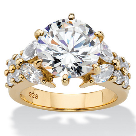 Round Cubic Zirconia Engagement Ring 6.48 TCW in 14k Gold over Sterling Silver at PalmBeach Jewelry