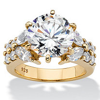 Round Cubic Zirconia Engagement Ring 6.48 TCW in 14k Gold over Sterling Silver
