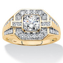 Men's Round Cubic Zirconia Octagon-Shaped Ring 1.60 TCW in Solid 10k Gold