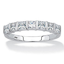 Princess-Cut Cubic Zirconia Single Row Channel-Set Ring 1.12 TCW in Platinum over Sterling Silver