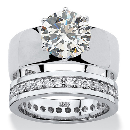 Round Cubic Zirconia 2-Piece Solitaire and Eternity Wedding Ring Set 4.80 TCW in Sterling Silver at PalmBeach Jewelry