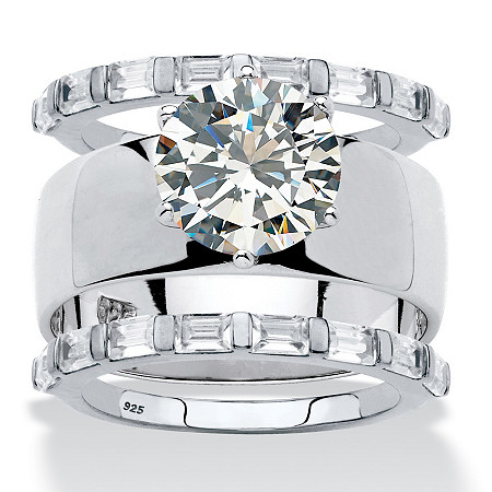 Round Cubic Zirconia Solitaire and Baguette 3-Piece Wedding Ring Set 5.60 TCW in Sterling Silver at PalmBeach Jewelry