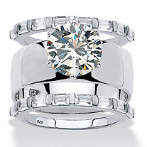 Round Cubic Zirconia Solitaire and Baguette 3-Piece Wedding Ring Set 5.60 TCW in Sterling Silver