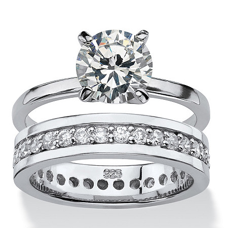 Round Cubic Zirconia Solitaire and Eternity 2-Piece Wedding Ring Set 2.80 TCW in Sterling Silver at PalmBeach Jewelry