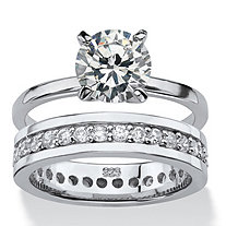 Round Cubic Zirconia Solitaire and Eternity 2-Piece Wedding Ring Set 2.80 TCW in Sterling Silver