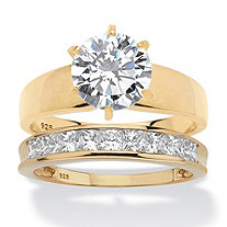 Round Cubic Zirconia 2-Piece Solitaire and Channel-Set Wedding Ring Set 3.81 TCW in 18k Yellow Gold over Sterling Silver