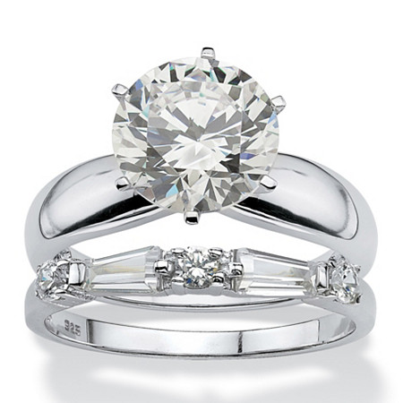 Round Cubic Zirconia Solitaire and Baguette 2-Piece Wedding Ring Set 4.48 TCW in Sterling Silver at PalmBeach Jewelry