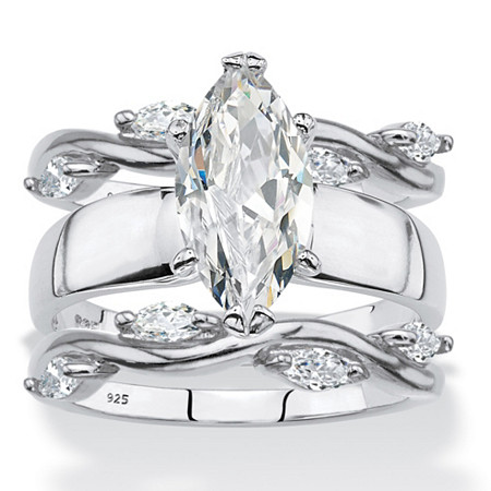 Marquise-Cut Cubic Zirconia 3-Piece Solitaire and Vine Wedding Ring Set 2.51 TCW in Sterling Silver at PalmBeach Jewelry