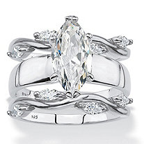 Marquise-Cut Cubic Zirconia 3-Piece Solitaire and Vine Wedding Ring Set 2.91 TCW in Sterling Silver